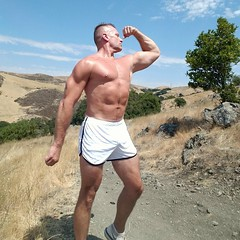 flexing on a friday (ddman_70) Tags: shirtless muscle flexing biceps pecs abs shortshorts hiking
