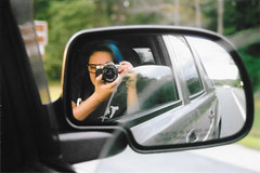 Mirror (samturner5510) Tags: film nikonfm10 nikon fm portrait selfportrait bluehair glasses