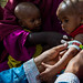 A young child measured for malnourishment in Somalia