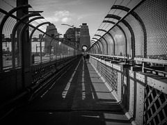 Across the Bridge (Anthony Kernich Photo) Tags: sydney nsw newsouthwales australia sydneyharbourbridge bridge sydneyharbour walk path footpath lines shape leadinglines walking angle view perspective curve olympusem10 olympus olympusomd travel photography photogenic photograph photo fence mono monochrome blackandwhite blackwhite grayscale vanishingpoint greyscale bnw vignette