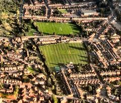 Expert mowing (John McLinden) Tags: cricket cricketground worcester worcestershire city grass evening view flight ga generalaviation airuk ukair c152 cessna gtalc