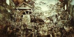 a day at the old mill... (HSS) (BillsExplorations) Tags: bassproshop branson bransonlanding store missouri wildlife elk ducks deer slide sliderssunday pheasant mill beavercreekmill old vintage sepia fox diorama stream waterfall trees woods