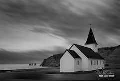 Pinnacles of Fear, Pinnacle of Faith (macdad1948) Tags: vik iceland kirk church reynisfjall seastacks reynisdrangar