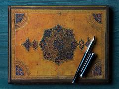 Safavid Leather Address Book (fstop186) Tags: safavid leather book binding islam filigree beauty blue bound pattern texture handmade handtooled luxury persia cobaltblue religion architecture macro gold gilt embossed