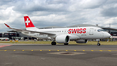 Swiss CS100. (spencer.wilmot) Tags: hbjbd cseries lhr egll lhregll heathrow new ramp apron london airside aviation aircraft airplane airliner airport arrival bombardier clouds commercialaviation passengerjet civilaviation terminal2 taxiway twin winglets mediumhaul commuter swiss cs100 swissglobalairlines lz swu lzswu euroswiss 50013 pw1524g e f g h jet jetliner plane
