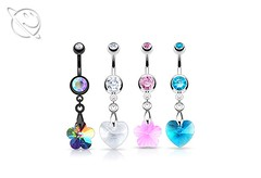Heart Flower Prism Belly Dangle (Planet Face Body Jewellery) Tags: low price cheap 99p afordable alternative alt planet face body jewellery online buy uk united kingdom england whales scotland heart flower gem belly dangle bar navel prism