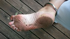 with ankle bracelet (bald_2000) Tags: anklebracelet dirtysole malesole dirty feet foot