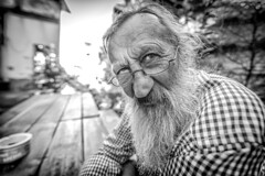 """#172 """"What the hell are you doing on this planet, Branko?"""" (Hendrik Lohmann) Tags: street streetportrait streetphotography blackandwhiteportrait blackandwhite people portrait project whatthehell hendriklohmann duesseldorf nikondf wideangle"""