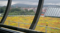 Gallery Oldham: Green Roof looking towards the Jamiyat Tabligh-ul-Islam Mosque on Greengate Street in the foreground and the Pennine moors in the distance (Diego Sideburns) Tags: oldham galleryoldham library greenroof sedum