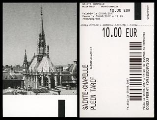 ephemera - Sainte-Chapelle entry ticket