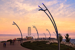 sunset wave (JimfromCanada) Tags: burlington ontario pier brant water lake brantstreet wave streetlight streetlamp harbor harbour sunset summer evening peaceful sky lighthouse