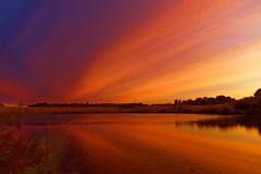 The blue Lagoon turned orange. (alan.irons) Tags: lagoon blue normanbyparksteelworks scunthorpe lake naturereserve sunrise cloudsstormssunsetssunrises dawn reflectionsofcolour reflections northlincolnshire normanby eos5dmkiv ef2470f28llusm canon england sunlight