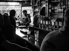 taps (rick miller foto) Tags: taps beer ireland irish galway pub restaurant oconnell eyre square moody bw black white bartender afternoon mono contrast
