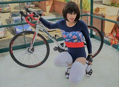 No need to comment it's just another photo of me in a swimsuit with my bike (Miss Nina Jay) Tags: swimsuit trannie socks heels bike