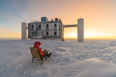 You have to be patient ... [Explored September 27, 2017] (redfurwolf) Tags: southpole antarctica antarctic sunrise icecubelab outdoor nature landscape sky snow ice building architecture person chair icecube redfurwolf sonyalpha a99ii sony sal1635f28za