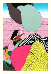 Unknown birds (Japanese Flower and Bird Art) Tags: bird go yayanagi modern screenprint print japan japanese art readercollection