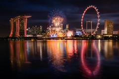 Happy Birthday Singapore (maison_2710) Tags: reflection twilight evening singapore skyline fireworks blue hour marina bay nightlight esplanade sands helix bridge sand laser show ndp ndp2017 onenationtogether sg52