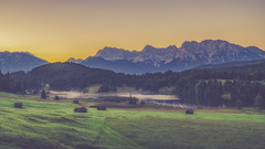 Good Morning Bavaria! (der_peste) Tags: geroldsee sunrise sonnenaufgang gerold garmisch garmischpartenkirchen bavaria bayern germany deutschland mountains mountainlake haze alpenglow cottages lakes meadow alpinemeadow mountainmeadow landscape
