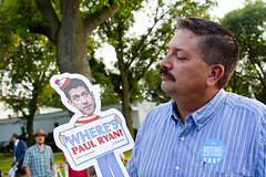 Randy Bryce Democratic Candidate for Wisconsin 1st Congressional District Protesting Paul Ryan Outside CNN Town Hall Racine Wisconsin 8-21-17 3194 (www.cemillerphotography.com) Tags: speakerofthehouse politician election congressman healthcare socialsecurity racinetheaterguild trump racism muslimban trumpcare repealandreplace ahca insurance premiums preexistingcondition obamacare aca voting