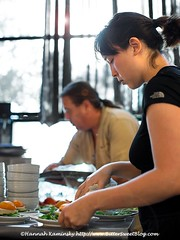 Serving Salads (Bitter-Sweet-) Tags: vegan food soundsavor chef philipgelb feasty popup underground restaurant summer peaches matsumoto fresh oakland california bayarea eastbay gourmet finedining savory dinner meal menu setmenu person portrait cook prep woman server