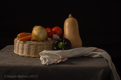 Still Life (mehmi's) Tags: still life tea towel vegetables butter nut squash potato red onion tomato garlic carrots basket