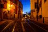 In Lisbon, before dawn (209/365, July 28th) (Yannis_K) Tags: lisbon alfama dawn nightlights streetlights bluehour yannisk nikond7100 nikon1685mmf3556gvr tramlines cobblestone cobbledstreets leadinglines portugal project365