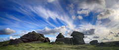 Honeybag panorama (OutdoorMonkey) Tags: honeybagtor dartmoor devon sunshine sunlight sunny bluesky cloud clouds evening countryside outside outdoor rural tor outcrop rock sky skies