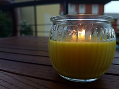 Citronella candle to defeat evil mosquitos.