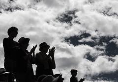 Fin de concert en altitude (Larch) Tags: monochrome nb bw noiretblanc blackwhite concert altitude alpagedecharamillon spectateur spectator applaudissement applause audience public contrejour backlit silhouette ciel sky nuage cloud cosmojazz standingovation charamillon inexplore