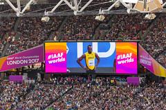 Usain Bolt bei der Leichtathletik-WM (wuestenigel) Tags: leichtathletik london2017 sports london weltmeisterschaft wm bethenext iaafworldchampionschips stadium stadion competition wettbewerb audience publikum crowd menge grandstand tribüne football fusball soccer cup tasse sport ball game spiel goal tor sportsfan sportfan match many viele squad kader people menschen tribune tribun victory sieg champion