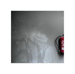 Estinguisher.    ( Pamplona ) (José Luis Cosme Giral) Tags: extinguisher wall gray red minimal 1x1 square minimalismo marcoblanco pamplona navarra panasonic dmclx3