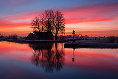 20150218-Canon EOS 6D-8549 (Bartek Rozanski) Tags: oudeleede zuidholland netherlands water channel reflection sunset dramatic fiery farm house winter cold holland dutch