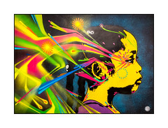 Stinkfish, Portraits in Transit at BSMT Space until 8th October 2017, 5D Stoke Newington Rd, London, N16 8BH (Joseph O'Malley64) Tags: stinkfish bsmtspace bsmtspacegallery streetartist streetart urbanart publicart freeart graffiti exhibition eastlondon northlondon border stokenewington london england uk britain british greatbritain art artist artistry artwork freehand stencils photography boldcolour forsale aerosol cans spray paint fujix x100t accuracyprecision