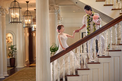 stairs001 (crosscolin) Tags: reflection dance wedding backlight godox ad360ii nikon d750 waikiki honolulu oahu hawaii bride groom 85mm f18d colinfcross strobist grid stairs moana surfrider phototour