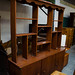 Tall retro teak stained open shelf unit comes with shelves E160