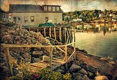 Fishhouse - Redux  (Thanks Explore!) (D'ArcyG) Tags: harbor maine stonington fishing village boats fish dock fence fishhouse rural pier textured impression old