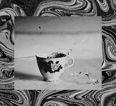 (emmakatka) Tags: emmakatka blackandwhite surreal dreamy swirl swirly pattern teacup water spill spilling grain old vintage lookslikefilm painting