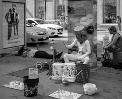 Week 40 Story: Colourful B&W (Explored) (Fun@365) Tags: dogwood52 dogwood2017 dogwood2017week40 toronto street party blackandwhite drummer daytime summer fun colourful people tpourists duckman city traffic pavement entertainment arts