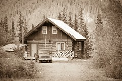 Back in Time (MIKOFOX ⌘ Check Out My Albums) Tags: canada chevy mikofox xt2 cabin june learnfromexif logcabin bc landscape fujifilmxt2 spring britishcolumbia showyourexif xf18135mmf3556rlmoiswr sepia monochrome cassiar cassiarhighway aperture lightroom