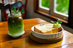 Butter French Toast and Matcha Green with Espresso (wirasak_yai) Tags: matcha green tea coffee espresso background white hot milk cup wooden fresh drink beverage glass closeup cafe ice sweet healthy freshness shot morning homemade toast french butter food breakfast bread plate syrup meal delicious honey fried sugar snack gourmet dessert egg fruit tasty lunch berry