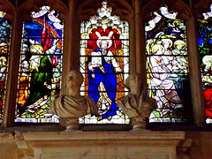 Busts and stained glass (llocin) Tags: cirencester church religion history bust marble stainedglass windows window color colour colorful colourful