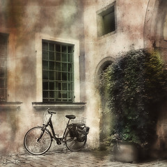 a corner in germany . . . (YvonneRaulston) Tags: germany regensburg atmospheric moody corner bike bicycle street europe sony fineartgrunge photoshopartistry creativeartphotography texture
