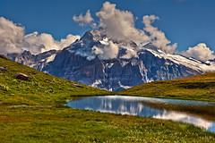 The Wetterhorn .Hiking in Switzerland ; Grindelwald , Trift , above Bachsee . No. 8955. (Izakigur) Tags: switzerland svizzera lasuisse lepetitprince helvetia liberty izakigur flickr feel europe europa dieschweiz ch musictomyeyes nikkor nikon suiza suisse suisia schweiz suizo swiss سويسرا laventuresuisse myswitzerland landscape alps alpes alpen schwyz suïssa d700 nikond700 nikkor2470f28 reflection berneroberland kantonbern topf25 500faves