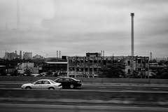 New Jersey (Al Fed) Tags: 20170623 usa new jersey cars bus greyhound driving movement mlur decay building rotten old reflection