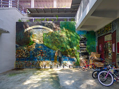 Fish and Bicycles (Steve Taylor (Photography)) Tags: rack steps bridge art mural streetart water river stream man woman lady asia city singapore bike bicycle cycle cardboard box koi carp