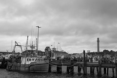 The harbor in Provincetown, MA (WilliamND4) Tags: capecod massachusetts harbor ship clouds water coast docks nikond750 blackandwhite