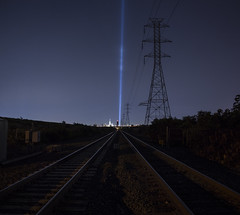 9/11 2017 (• estatik •) Tags: sept september 11 2017 911 9|11 tribute lights tracks njt train railroad leading turnpike freedom tower manhattan new york nj ny nyc meadowlands lyndhurst night long exposure panorama power high tension