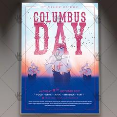 Columbus Day - American Flyer PSD Template (psdmarket) Tags: american celebration columb columbusday ocean sailor sea ship swimming weekend