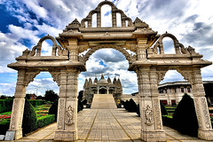 Hindu Temple (Geoff Henson) Tags: temple hindu mandir neasden london uk marble entrance arch domes flags nikon tokina august sky 1000v40f tokina1120mm