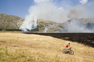Incendio sul Gran Sasso